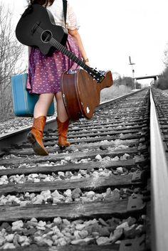 Guitar photography #railroad #selfportrait