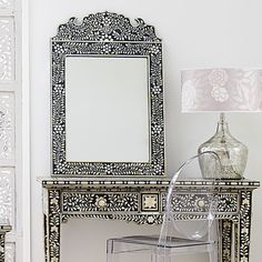 Black Mother of Pearl Bone Inlay Mirror Courtesy of InStyle-Decor.com Beverly Hills Inspiring & Supporting Hollywood interior design professionals and fans, sharing beautiful Luxe Home Decor Inspirations, Designer Furniture, Table Lamps, Mirrors & Decorative Accents. Trending 1st in Hollywood, Your Welcome To: Repin, Share & Enjoy