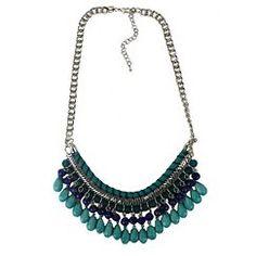 "Women's Beaded Necklace - Silver/Blue (20"")"