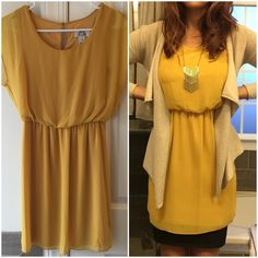 Mustard Yellow Dress Mustard yellow cocktail dress. Beautifully cut with V-neck, sheer sleeves over the shoulder. Sits just above the knee. I like to layer this dress with a pencil skirt underneath and a cardigan (see picture 1 on the right) or I put a lace dress extender underneath to make it work or church appropriate. Dresses Mini
