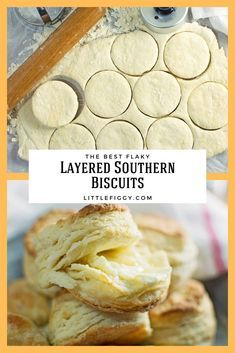Easy to make, buttery and flaky, learn how to make layered Southern Biscuits! These easy homemade buttermilk biscuits are perfectly layered and great to enjoy for breakfast, dinner or anytime you Biscuit Bread, Breakfast Biscuits, Biscuit Recipe With Bread Flour, Recipe To Make Bread, Homemade Buttermilk Biscuits, Baking Biscuits, Recipe For Homemade Biscuits, Baking Breads, How To Bake Biscuits