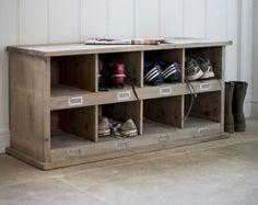 Estilo vintage rack de almacenamiento zapato de madera con 8 agujeros Cubby - elaborado en pícea