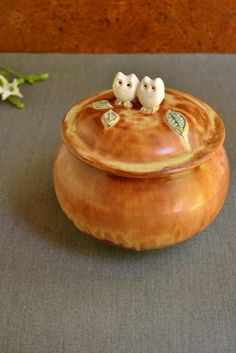 2 Owls ceramic keepsake box from Lee Wolfe Pottery — in stock now