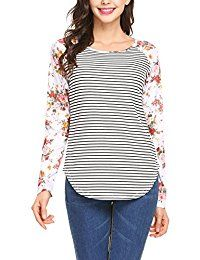 New Zeagoo Women Long Sleeve Raglan Striped Patchwor Floral Print Shirt Blouse Tops online. Find the perfect Beyove Tops-Tees from top store. Sku LOZI71172DOYD80448