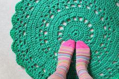 giant crocheted fabric doily rug