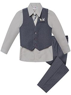 Grey Boy s 4 Piece Pinstripe Suit Set (Available in Sizes in 15 Colors) 91728cd4e282
