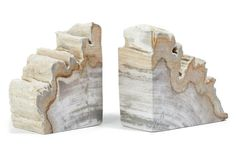 These petrified wood bookends are subtle statement-makers.