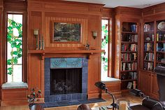Would I ever love this.  Fireplace in my own library.  c 1016