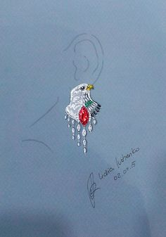 Lidia Ivzhenko - Jewelry designer - Heart of Emirates earring. Ruby, emerald, onyx, diamonds. White gold - matte finishing, yellow gold. Inspired by Emblem and Flag of UAE.