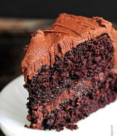 The Best Chocolate Cake Recipe {Ever}: seriously though, I made this last night and it's incredible! ( I even left out the espresso powder and used Nutella instead..hehehe)