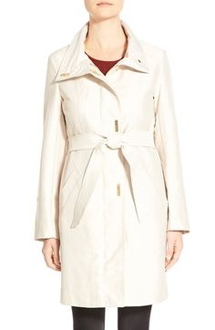 Ellen Tracy Belted Sateen Coat with Removable Liner available at #Nordstrom