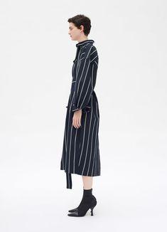 Belted dress in large stripes cotton viscose | CÉLINE