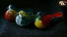 Colorful Hand Blown Murano Glass Animal Birds