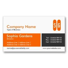 Clear business cards clear business cards pinterest clear divided band orange and dark gray initials business cards make your own business card with this great design all you need is to add your info to this reheart Gallery