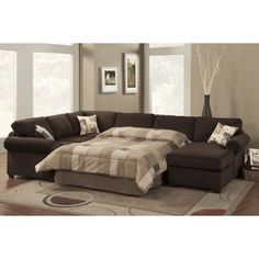 Sectional Sleeper Sofa With Chaise. This best photo collections about Sectional Sleeper Sofa With Chaise is available to save. U Shaped Sectional Sofa, Sectional Sofa With Chaise, Leather Sectional Sofas, Living Room Sectional, Fabric Sectional, Small Sectional, Bed Couch, Sofa Beds, Houses