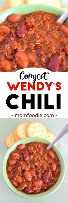 Copycat Wendy's Chili Recipe #copycatrecipe  #chili #chilirecipe #footballfood  via @MomFoodie