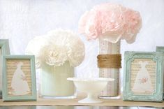 This entry tells how to fill plain vases and glassware with paper to make them look pretty. I made these coffee filter flowers=now I'm going to use this idea for the vase. Wedding Vase Centerpieces, Reception Decorations, Wedding Centerpieces, Table Decorations, Diy Flowers, Spring Flowers, Coffee Filter Flowers, Easy Diy Projects, Craft Projects