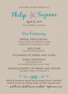 Our Beach Wedding Program