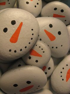 Snowman faces on rocks. I would do this with a ton of rocks with different faces and rosey cheeks! Fill a bowl or make a small black felt hat to fill and decorate