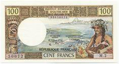 100 FRANCS CFP 1972 (SÜDSEEMOTIVE) Neukaledonien Französisches Überseegebiet Outre Mer, Prince Edward Island, New Brunswick, Coin Collecting, Newfoundland, The 100, Vintage World Maps, Money, Historia