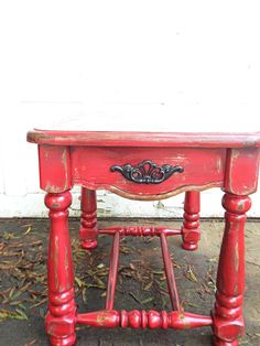 Rustic barn red side table shabby chic heavily distressed hand painted furniture autumn decor mountain cabin table fall colors outdoor decor on Etsy, $135.00
