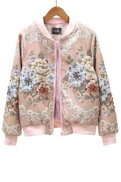 Coats For Women, Jackets For Women, Clothes For Women, Short Jackets, Pink Bomber Jacket, Leather Jacket, Floral Jacket, Autumn Fashion, Fashion Outfits