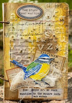Layers of ink - DIY Bird Notebooks Tutorial by Anna-Karin Evaldsson. Mixed media notebook. Homemade Stencils, How To Make Stencils, Glitter Projects, Tim Holtz Dies, Bird Book, White Gel Pen, Ranger Ink, Distressed Painting, Journal Cards