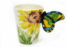 sunflower with butterfly handle mug