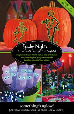 Spooky nights... filled with delightful frights! Use glow-in-the-dark paint to craft an array of Halloween decor, everything from costly treats to spooky pumpkins to boo-tiful place settings.