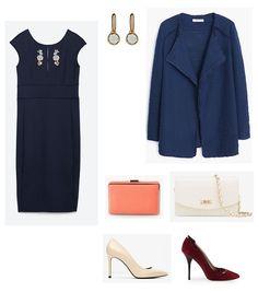 look vestido azul marino