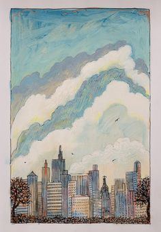 """The Towers Are Gone"" original illustration from The Man Who Walked Between the Towers written and Illustrated by Mordicai Gerstein 