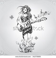 Girl with the guitar in the ornament