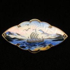 Bernard Meldahl  Guilloche scenic brooch