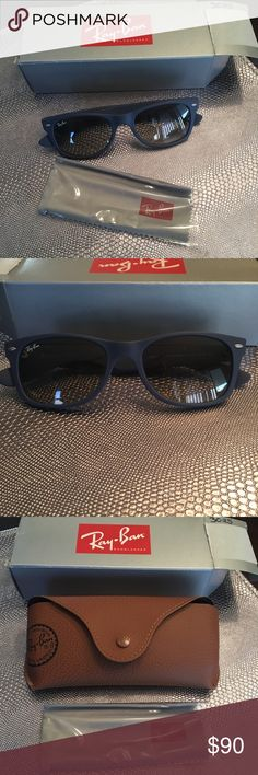 Blue Ray Ban Wayfarers 😎 Genuine Ray Ban Wayfarer Sunglasses in a great matte blue color, perfect for Summer! Very light use. Original case, box, and cleaning cloth included. RB2132, 52mm Ray-Ban Accessories Sunglasses