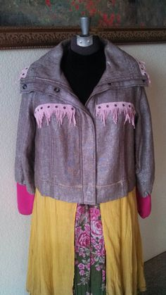 Refashioned Women's Funky Reconstructed Long Coat with Pink Fringe Trim * OOAK! * Size L/XL *