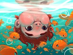 Underwater :), Margie Stamenova - You are in the right place about cartoon rabbit Here we offer you the most beautiful pictures abou - Simple Acrylic Paintings, Art Et Illustration, Book Illustrations, Cute Drawings, Drawing Faces, Cute Art, Art Inspo, Character Art, Illustrators