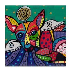 50% OFF Storewide- Chihuahua Art Tile Ceramic Coaster Print of painting by Heather Galler dog Gift