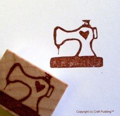 Sewing Machine Hand Carved Rubber Stamp