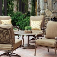 Darlee Florence 4-person Cast Aluminum Deep Seating Patio Conversation Set - Antique Bronze by Darlee. $2459.00. Antique bronze powder coating is tougher than conventional paint finishes. Set Includes: Conversation Table, 2 Lounge Chairs, 2 Swivel Rocker Lounge Chairs, Sesame-Colored Polyester Cushions. Lightweight aluminum frame makes rearranging your furniture easy. Cast aluminum construction promotes rust resistance. Relax more comfortably with polyester seat cus...