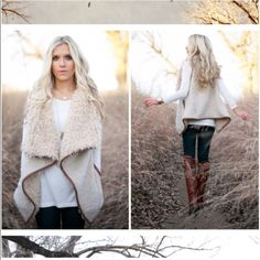⭐️LAST ONE⭐️Cream Shearling Faux Fur Vest NWT Cream Sherpa Fleece Vest. The softest, coziest fur vest! Inner lining of the vest is a longer fur (just like the collar) and the outer is a short, nubby fur. Leather piping around edges and side pockets. Fabric is 100% polyester. Fits true to size, avail in Large (10-12). No Trades and No PaypalPrice is firm, not eligible for bundle discount. Sold out of smalls, mediums Jackets & Coats Vests