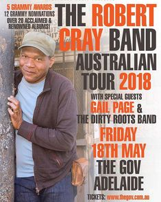 Robert Cray!  I dig him! Beautiful!!!!!!! #robertcray #blues #adelaide #australiantour #thegov #gailpage #dirtyrootsband  Robert Cray bridges the lines between blues soul and R&B with 3 Grammy wins 12 Grammy nominations over 20 acclaimed albums and a well deserved place in the Blues Hall of Fame.  Catch him live at The Gov on Fri 18 May: selling fast