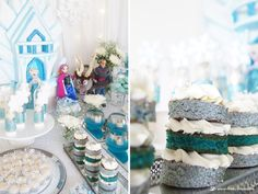 The mini naked cake for this Frozen themed party