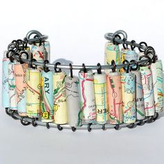 Paper Bead Jewelry- Upcycled U.S. Road Atlas Map Cuff Bracelet. $40.00, via Etsy.