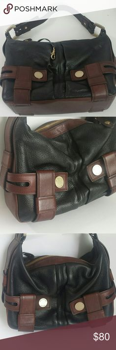 """Michael Kors walnut black shoulderbag Michael Kors distressed pebble leather handbag! This bag is in excellent condition on the outside and inside has a tad bit if staining below the zipper that can't be Seen. Overall I give this bag from a 1 to 10 a 9. Bag measures 9"""" H x 14"""" L x 5"""" W strap drop is 11"""". Inside has one compartment with multiple pockets Michael Kors Bags Shoulder Bags"""