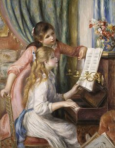 Auguste Renoir, Two Young Girls at the Piano, 1892 ... And this one reminds me of my girls too!!!