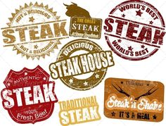 Steak stamps — Vector EPS #market #postage • Available here → https://graphicriver.net/item/steak-stamps/1448575?ref=pxcr