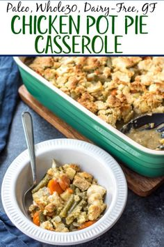 This chicken pot pie casserole is the the perfect casserole recipe when you're wanting something hearty and comforting. It's a paleo and dairy free twist on the classic pot pie flavors you know and love with a grain free crust, and is aweso Whole 30 Chicken Recipes, Whole 30 Recipes, Healthy Chicken, Paleo Meal Prep, Paleo Dinner, Paleo Meals, Paleo Recipes, Cooking Recipes, Paleo Food