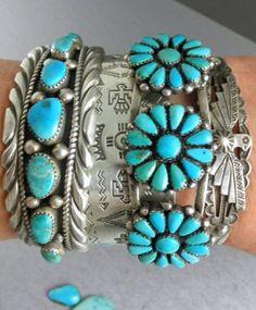 turquoise stacking bracelets.