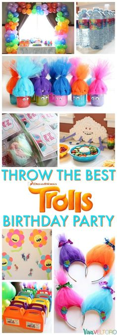 Adorable and EASY Trolls birthday party ideas! Those slime favors are so cute! #Trolls