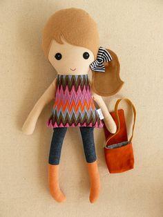 Fabric Doll Rag Doll Light Brown Haired Girl in от rovingovine